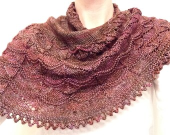 Purple waves of lace Hand Knit Shawl, Wrap for fall