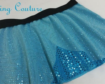 Silvermist inspired two layer shades of blue Sparkle Running Misses round skirt Peter Pan, Tinkerbell