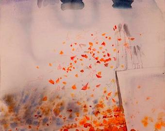 Original ART Watercolour,Grief in Munich,Giclee30x24in,Europe,Watercolour original painting,Fine art,magic landscape,gift,Love,boat,eternitу