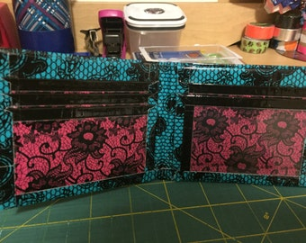 Blue Lace, Pink Lace, and Black Duct Tape Bifold Wallet