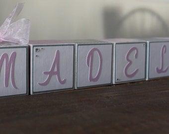 Pink and Grey Baby Name Blocks