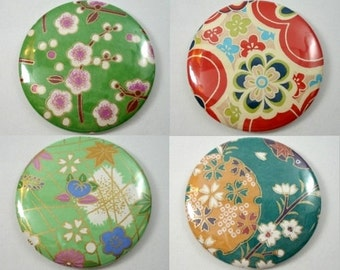 Japanese Chiyogami Paper Pocket Mirror - Choose One! - Green Collection - Sakura - Cherry Blossoms - Mod Flowers - Hand Mirrors