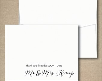 Wedding Bridal Shower Thank You Cards, Thank You From the Soon to Be Mr and Mrs Thank You Notes, Wedding Shower Cards, Set of 50 Cards