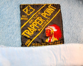 Blue Trapper Point Four Point Wool Blanket Made in England Eatons Double Queen