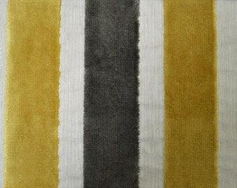 Modern Velvet Stripe Citrine Fabric