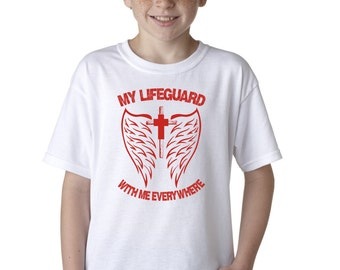 AproJes My Lifeguard With Me Everywhere Christian T-Shirt for Kids Jesus God Faith Tee