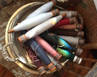Set Of Four Vintage Wood Spools with thread, many different colors to choose from