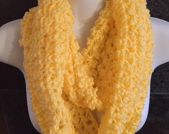 Crocheted scarf, FREE shipping Yellow crochet infinity scarf