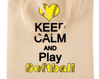 Softball Tote Bag - Fastpitch - Softball Mom - Softball Gifts - Canvas Tote - Keep Calm