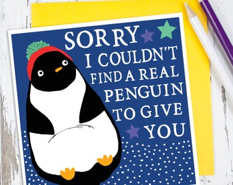 penguin card  etsy, Birthday card