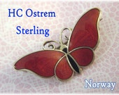 H C Ostrem Norway ~ Sterling Silver Guilloche Enamel Red Butterfly Brooch ~ Scandinavian ~ Newport Rhode Island RI Estate Treasure