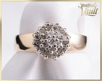 Vintage ~ Ladies Diamond Right Hand Ring ~ 14k Yellow Gold ~ 0.285ct Claw Set Single Cut Diamonds ~ STR16059 ~ GIA ~ 1200.00