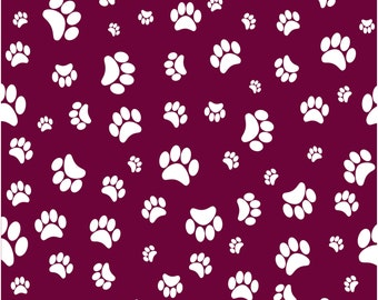 Maroon with white paw prints craft  vinyl sheet - HTV or Adhesive Vinyl -   pattern HTV601