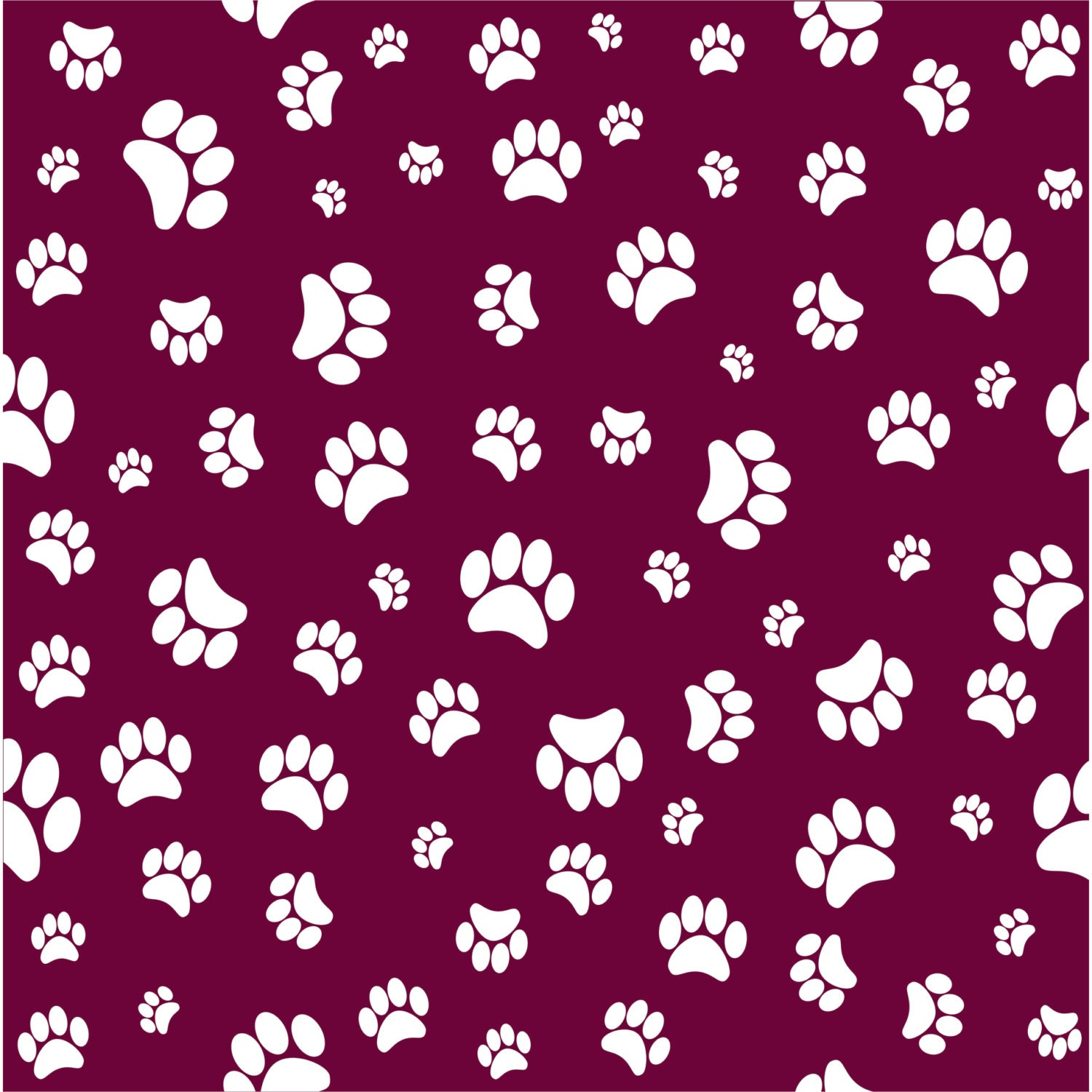 Maroon With White Paw Prints Craft Vinyl Sheet Htv Or