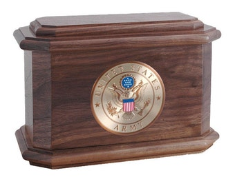 Walnut Diplomat Military Wood Cremation Urn