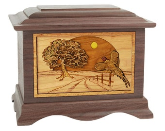 Walnut Pheasant Ambassador Wood Cremation Urn