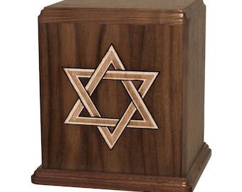 Walnut Star of David Wood Cremation Urn
