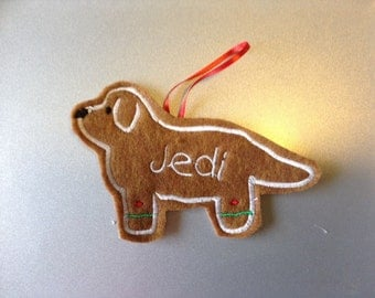 Newfoundland or Leonberger Personalized Felt Gingerbread or Angel Ornament