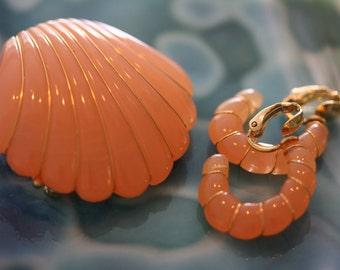 Luscious Vintage Crown Trifari Lucite Earrings and Brooch