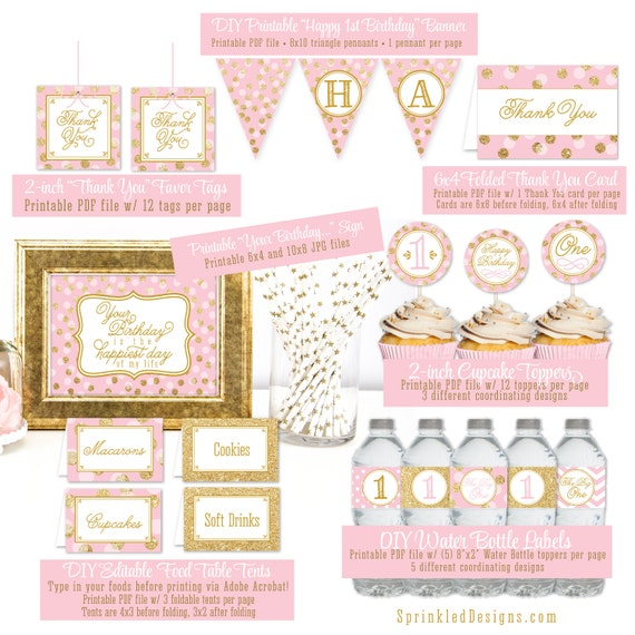 Items similar to girl 1st first birthday party decorations for 1st birthday decoration packs