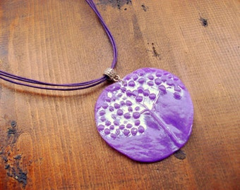 Polymer Clay Jewelry  Handmade Purple Violet Pendant  Necklace