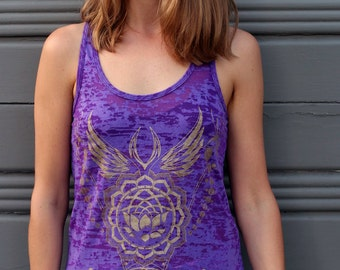 Sale item - Sacred Geometry Women's Burnout tank - Lotus Shield
