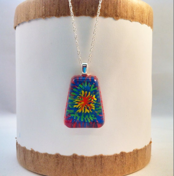 Hand painted resin pendant in  red, orange, yellow blue, green & purple grass/tie-die/fireworks   - Multi-layer acrylic painting