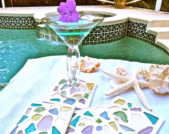 Sea Glass Coasters in cool colors of our sea glass in blues, greens and pastels! Perfect gift for the beach lover!  Set 4