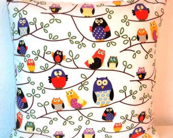 """Beautiful Brushed Cotton OWLS fabric cushion cover, pillow cover, 16"""" x 16"""" (41cm x 41cm)"""