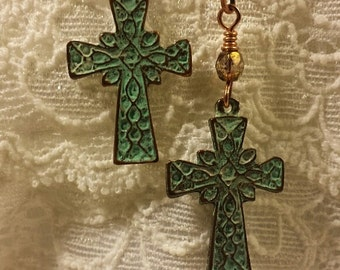 Metal Cross Earrings, Cross Earrings, Religious Earrings
