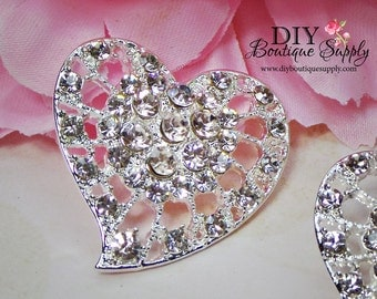 3pcs Large Heart Rhinestone buttons Flatback Crystal buttons Metal Embellishment Scrapbooking flower centers Hair Bow Centers 30mm 826060