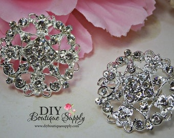 2 pcs Rhinestone Brooch Crystal Brooches Embellishment for Brooch Bouquet Crystal Wedding Bridal Accessories shoe clips 32mm 863092