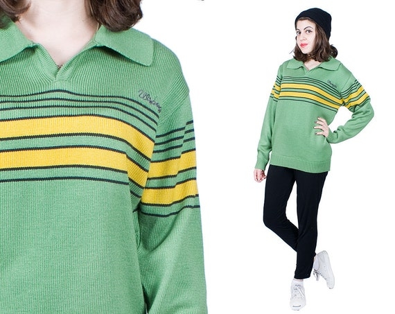 Items similar to Lime Green Sweater 90s Vintage 1990s Yellow ...