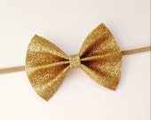 Gold Glitter Bow - Gold Sparkle Bow Hair Clip or Headband - Baby Girl Toddler Bow Headband