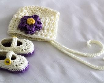 Baby Girl Crochet Booties and Bonnet Pair