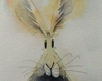 Boris the Hare - original watercolour painting