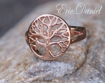 Tree of Life Ring in Solid 10k 14k 18k White, Yellow or Rose Gold, Gold Tree Ring, Rose Gold Tree Ring, Solid Gold Tree Ring, 14k Tree Ring