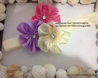 Easter Headband, Pink Ivory Lilac Easter Headband, Pastel Headband, Easter, Photo Prop Easter Headband, Newborn Girls Easter Headband