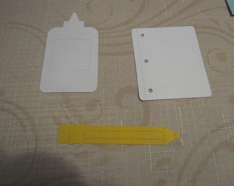 notebook paper, pencil & glue die cuts