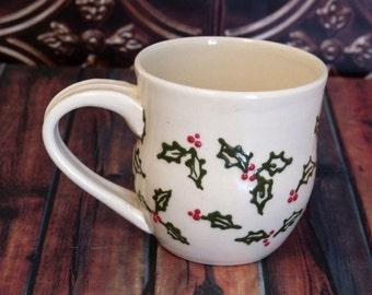 Christmas Holly Mug, 9 ounce - Ready to Ship  (coffee, tea cup, stoneware, ceramic, holly, pretty mug)