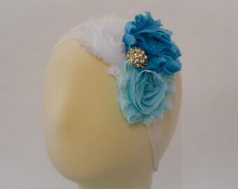 Frozen theme rosette headband with rhinestone center