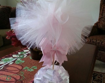 Pink Tulle Topiary / Baby Shower Centerpiece / Elegant Baby Shower Centerpiece