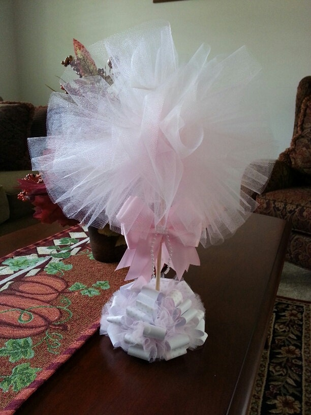 Pink Tulle Topiary Baby Shower Centerpiece Elegant Baby