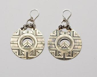 Small brass Etched Regency Statement Earrings