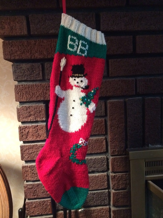 Knit Pattern For Christmas Stocking Kit : Kit for Vintage Personalized Hand Knit Snowman Christmas ...