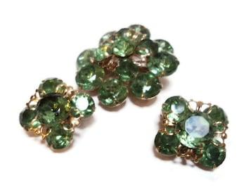 Vintage Green Rhinestone Brooch and Earring Demi Parure