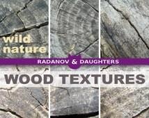 Distressed Wood Digital Paper, Wild Nature Texture, Grey Neutral Background Scrapbook Paper, Wallpaper - Tree Trunk Slice