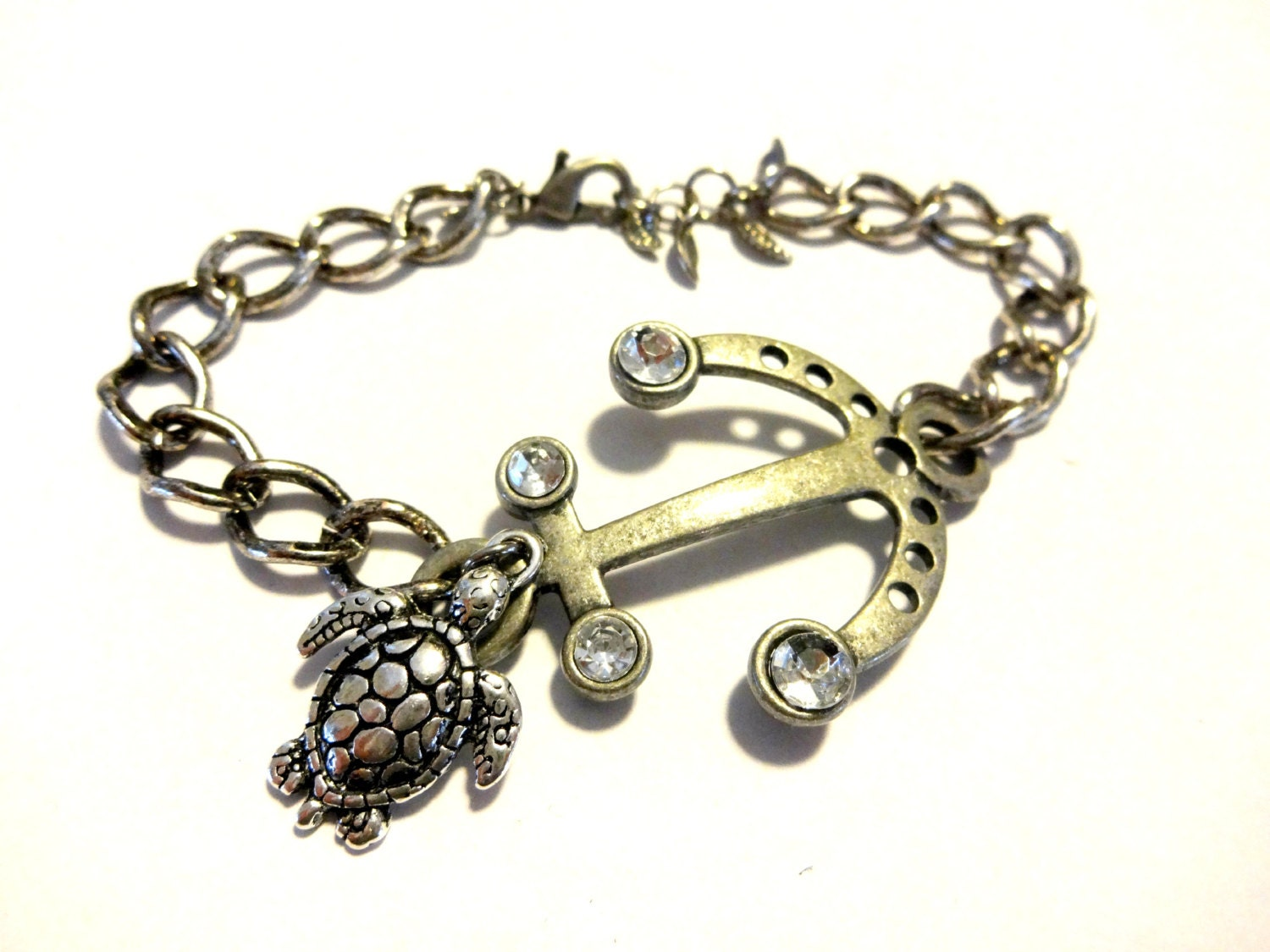 anchor bracelet nautical bracelet sea turtle charm bracelet