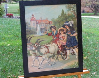The Outing Circa 1900s Lithograph in New Frame