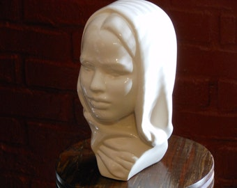 Vintage Bust of Woman in Headscarf